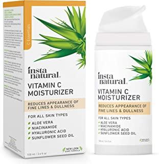 InstaNatural Vitamin C Moisturizer - Anti Aging & Wrinkle Cream - Hyaluronic Acid & Organic Jojoba Oil - Wrinkles, Hyperpigmentation, Acne, & Dark Spot Corrector for Face - Men & Women - 3.4oz