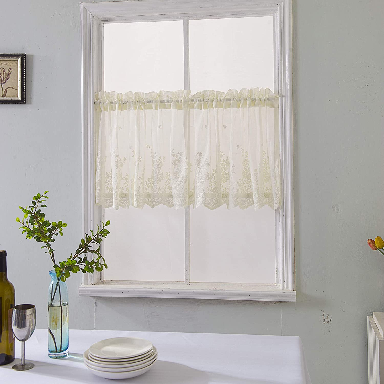 Atiming Lace Curtain Valances For Windows Beige Semi Sheer Valance Curtains Embroidery Valances For Kitchen Cafe Dining Room Windows Valances 29x24inch Amazon Co Uk Kitchen Home