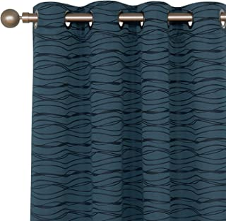 Deconovo Stripe Jacquard Total Blackout Panels with Triple-Pass White Coating Back Layer Thermal Insulated Curtains for Bedroom Orion Blue 2 Panels 52 X 45 Inch