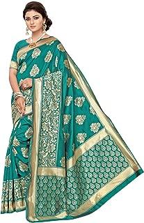 Women's Turquoise Jacquard Banarasi Silk Saree with Unstitched Blouse
