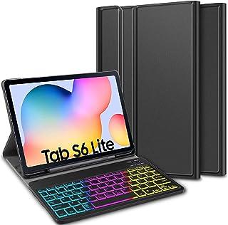 ELTD Funda con Teclado Español Ñ para Samsung Galaxy Tab S6 Lite 10.4, Teclado inalámbrico 7 Colores Cubierta de Teclado r...