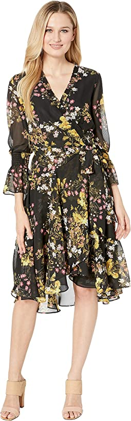 Side Wrap Printed Chiffon Dress