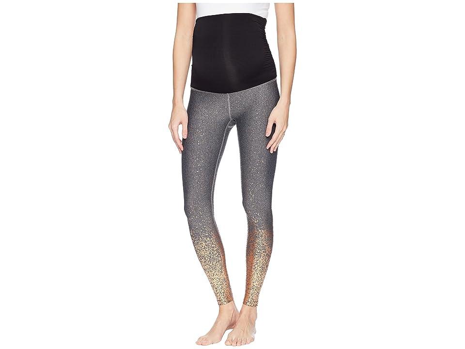 Beyond Yoga Maternity Allow Ombre Midi Leggings (Black/White/Rose Gold Speckle) Women