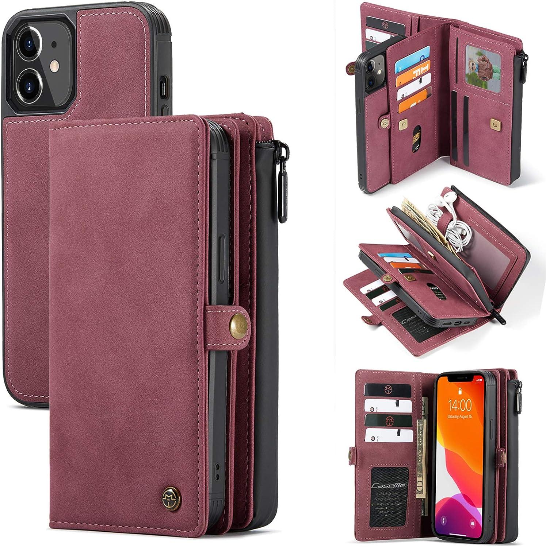 Caseme Wallet Case for iPhone 12 Pro Max Magnetic Detachable Zipper Pocket Durable PU Leather Flip Case Wallet for iPhone 12 Pro Max Case Wallet with 15 Card Slots Holder for Women Men 6.7