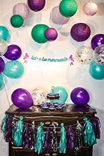 """Let's Be Mermaids Party Decoration Kit. Paper Lanterns, Confetti Balloons, Tassel Garland, and a """"Let's be Mermaids"""" Banner. Great for a Birthday Party or Under The Sea Party."""