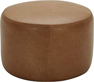 "Amazon Brand – Rivet Tompkins Contemporary Foam-Padded Leather Ottoman, 24""W, Cognac"