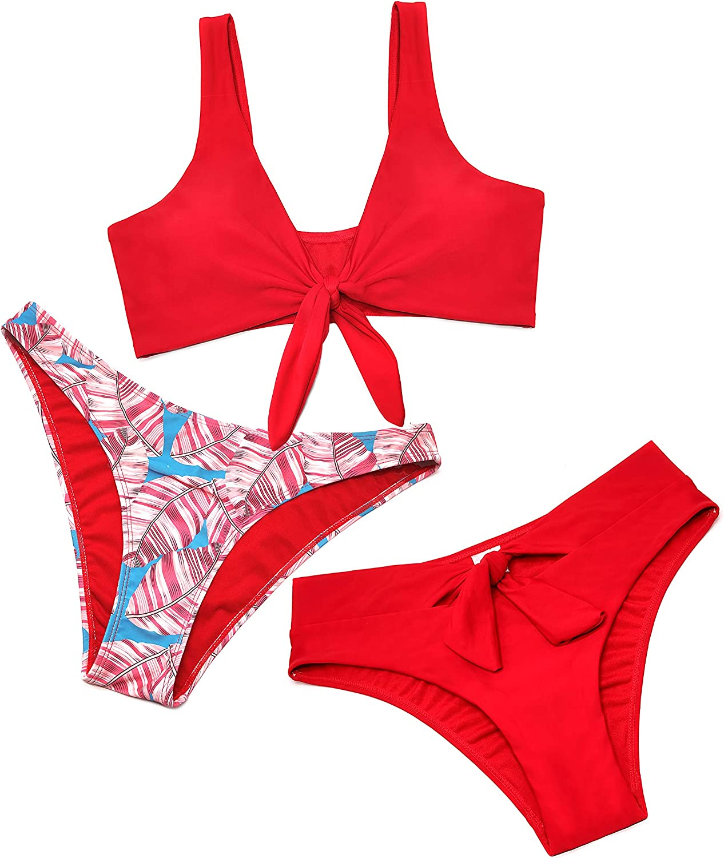 SHEKINI Womens Tie Knot Front Bikini High Waisted Bikini Bottoms Three Piece Swimsuit