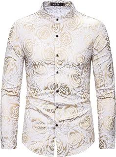 Men's Paisley Gold Shirt Luxury Design Long Sleeve Casual Dress Shirts/Prom Performing Shirts