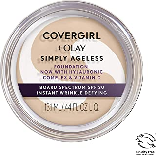 COVERGIRL & Olay Simply Ageless Instant Wrinkle Defying Foundation Classic Beige 0.4 Ounce Pot, Foundation Plus Titanium Dioxide Sunscreen (packaging may vary)