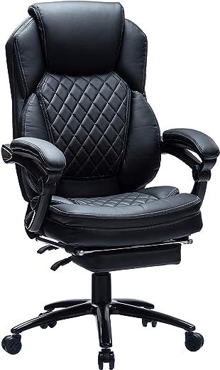 Kasorix Bürostuhl Atmungsaktiver Leder mit Fußstütze Chefsessel Leder Computerstuhl mit Fußstütze Büro-Schreibtischstuhl mit Breitem Sitz,…