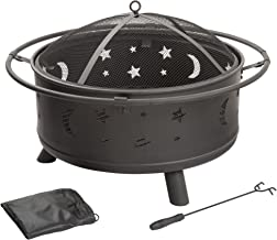 Fire Pit Set, Wood Burning Pit – Includes Screen, Cover and Log Poker- Great for..
