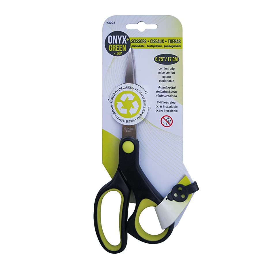 Onyx and Green Scissors, Comfort Grip, 6.75-Inch, Pointed Tip, Anti-Microbial (3203)