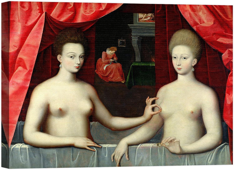 Rahmen Druck auf Leinwand mit Rahmen in Holz School of of of Fontainebleau Gabrielle d Estrees and Her Sister 135x100 CM B07CJQD6SB   Ausgezeichnetes Handwerk  f7db42