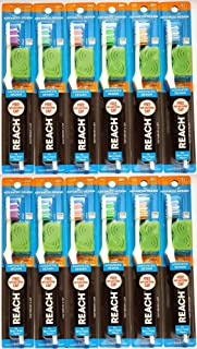 Reach Advanced Design Soft Toothbrushes With Cap, Color May Vary (Pack of 12)