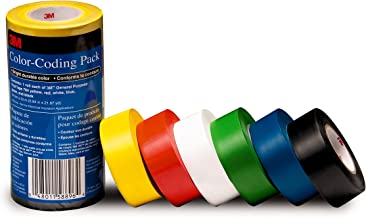 3M General Purpose Vinyl Tape Color Coding Pack, 6-Roll