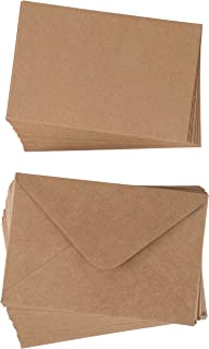 48-Pack Blank Invitation Cards - Plain Cardstock Postcard Style Notecards - Standard Straight Corners, Envelopes Included for DIY Holiday Cards, Bridal Shower, Wedding, Kraft Brown, 4 x 6 Inches