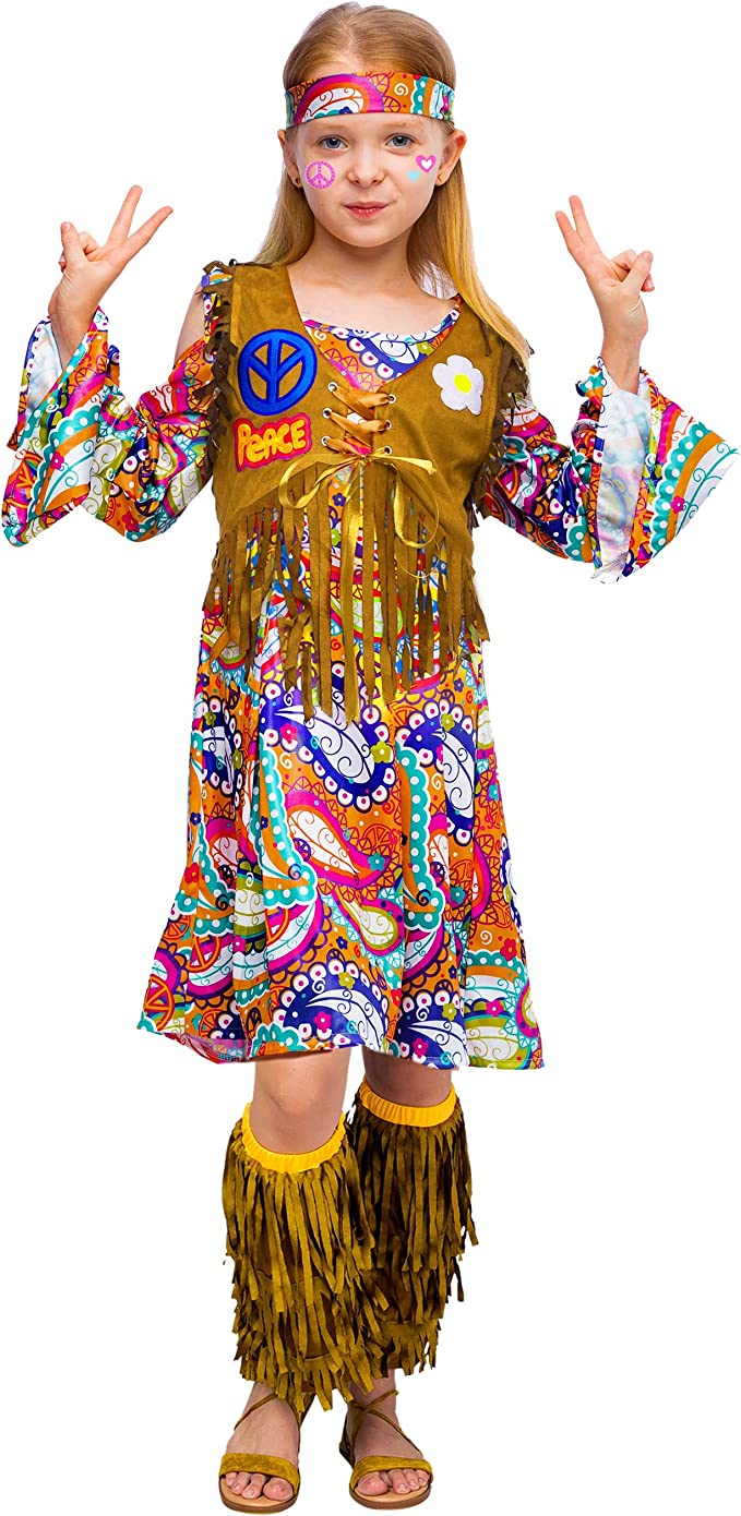 60s 70s Kids Costumes & Clothing Girls & Boys Peace Love 60s/70s Happy Hippie Girl Costume with Hippie Accessories for Kids  AT vintagedancer.com