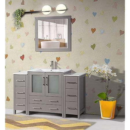 Amazon Com Vanity Art 54 Inch Single Sink Modern Bathroom Vanity Combo Set 1 Shelf 8 Drawers Ceramic Top Bathroom Cabinet With Free Mirror Va3030 54 G Kitchen Dining