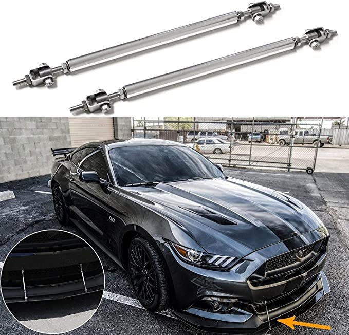 2x Black 10cm Adjustable Bumper Lip Air Splitter Support Rods Strut Tie Bar