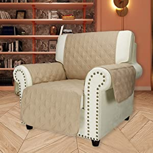 UFOTEX Non-Slip Armchair Couch Slipcover - Waterproof Machine Washable Chair Sofa Cover Furniture Protector with Elastic Straps for Dogs, Kids, 23 Inch, Beige