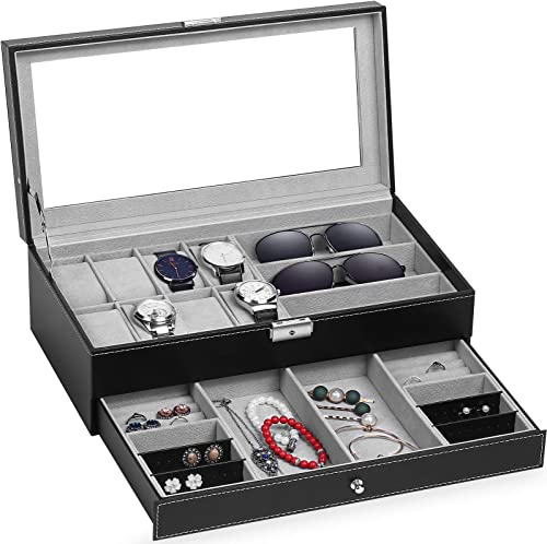 TomCare Upgraded Watch Box Watch Case Jewelry Organizer Holder Jewelry Display Box Case Drawer Sunglasses Storage Ear...