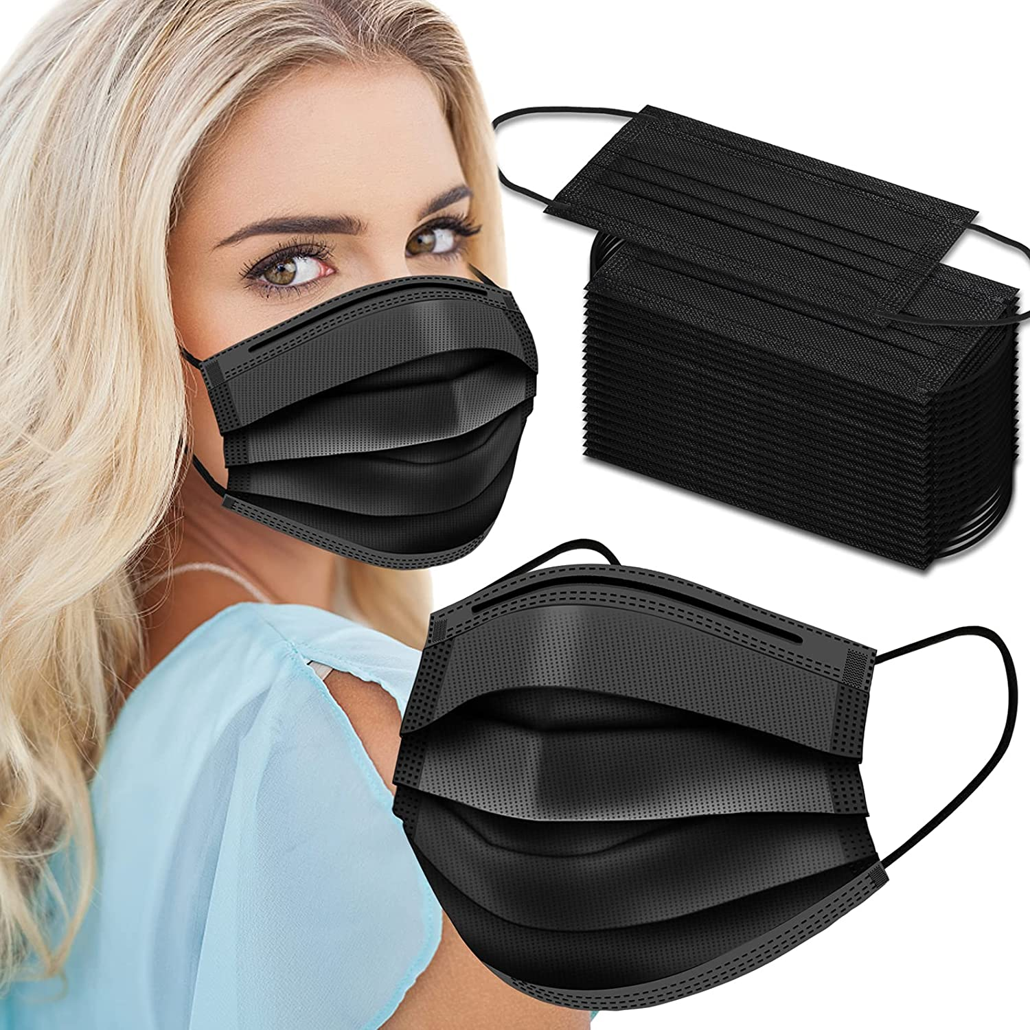 Black Disposable Face Masks 50 excellence Ply Mask 3 Pack Direct stock discount