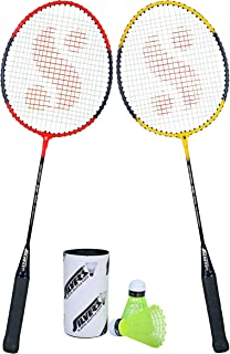 Silver's SB-100 Combo-5 (2 B/Rackets + 2 Pcs Plastic Shuttle) Red-Yellow