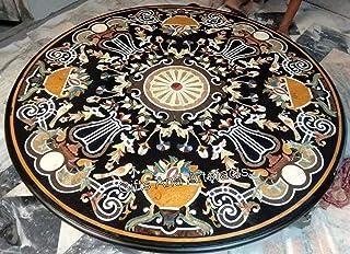 Dessus de table de salle à manger en marbre noir avec mosaïque artistique - 183 cm