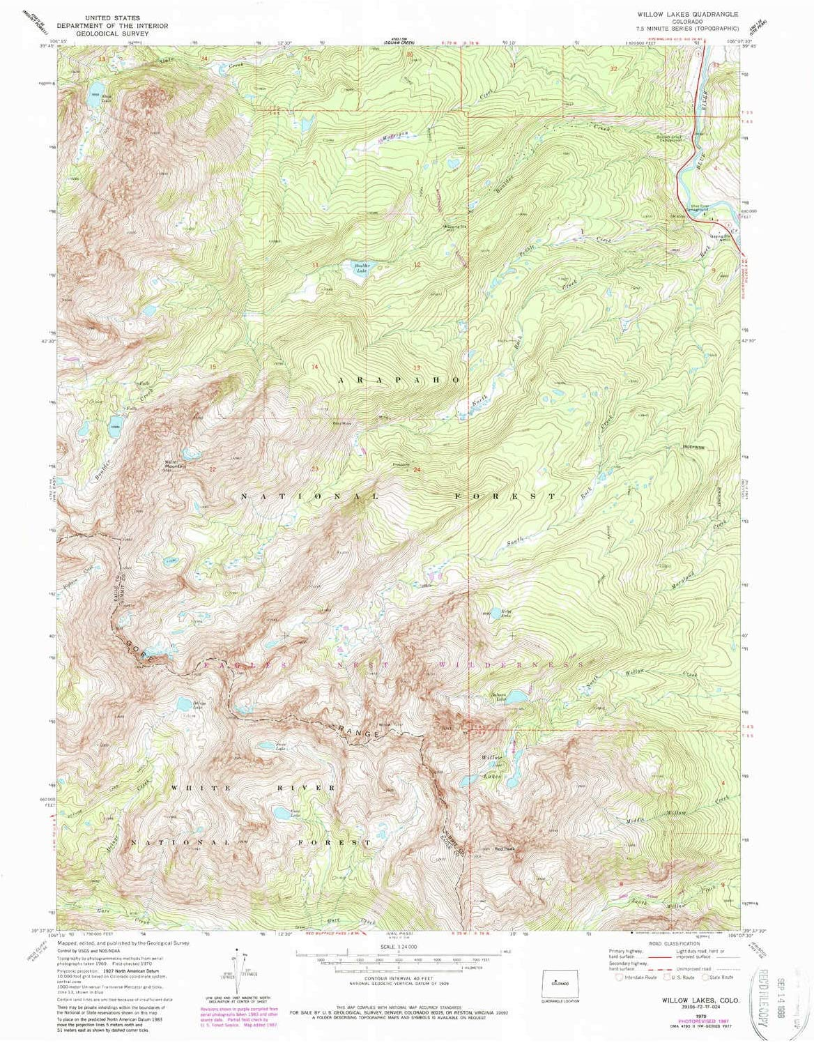 service free shipping Willow Lakes CO topo map 1:24000 Minute 7.5 X Scale Histo