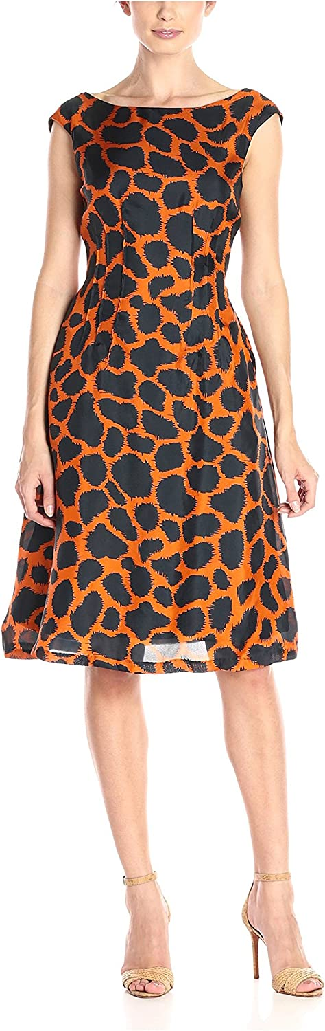 Melissa Masse Women's Short Sleeve Fit and Flare Graphic Printed Dress