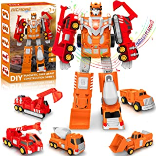 Toys for 3 4 5 6 7 Year Old Boys - Construction Toys Transform Robot Toy STEM Building Toys for Kids Age 3-5 | Toddler Toys Cars 5 in 1 Pull Back Truck Christmas Birthday Gifts for Boys Girls Kids