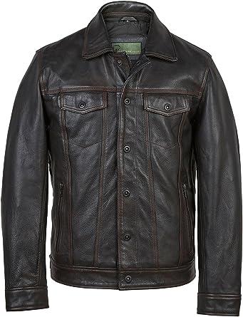 Elvis: Men's Black Antique Denim Style Leather Jacket