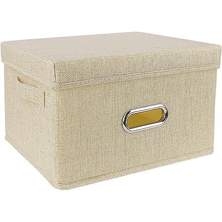 Boîte de rangement Redmoo, panier de rangement pliable en tissu de lin, avec couvercle, boîte de rangement pliable pour armoire, vêtements, livres, cosmétiques, jouets (Beige, S, 34x25x18cm)