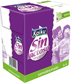 Kaiku Leche sin Lactosa UHT Semidesnatada - Paquete de 6 x 1000 gr - Total: