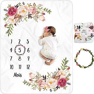 Couverture Bébé Photo Mensuelle en FRANÇAIS avec FLEURS, Cadeau Naissance Fille, Accessoires de Photographie, Babyshower F...