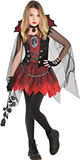 Dark Vampire Costume for Girls, Includes a Mini Dress, a Sheer Cape, and a Choker Necklace