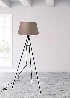 """Trango 1522BL Lampe sur pied design """"Brownie"""" avec ampoule LED E27 Blanc chaud avec abat-jour en tissu marron I Trépied Ha..."""