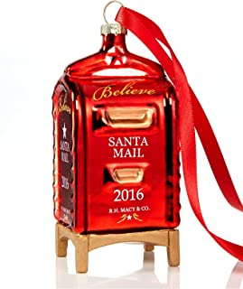 Macy's Yes Virginia 2016 Red Glass Mailbox Christmas Ornament