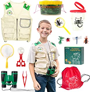 Yippee Toys Kids Explorer Kit for Girls Boys with Bug Catcher Kit for Kids - 4 Pocket Cargo Safari Vest - Halloween Costume, Paleontologist Costume, Kids Dress Up Clothes - Camping Toys