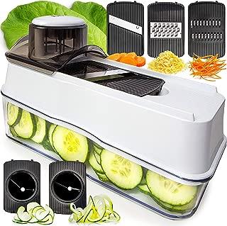 Fullstar Mandoline Slicer Spiralizer Vegetable Slicer - Veggie Slicer 5-in-1 Mandoline Food Slicer with Julienne Grater - Cheese Slicer V Slicer Mandoline Cutter - Vegetable Cutter Zoodle Maker