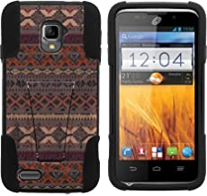 GoldenBeetle ZTE Rapido LTE Z932L (Straight Talk) Hybrid Rugged Dual Layer Case with Built-in Kickstand Phone Cover + Free Screen Protector (MAROON TRIBAL PRINTS)