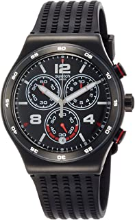 Swatch Men's Black Dial Rubber Band Watch - YVB404