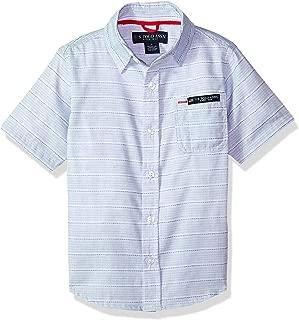 Boys' Short Sleeve Striped Textured Woven Shirt