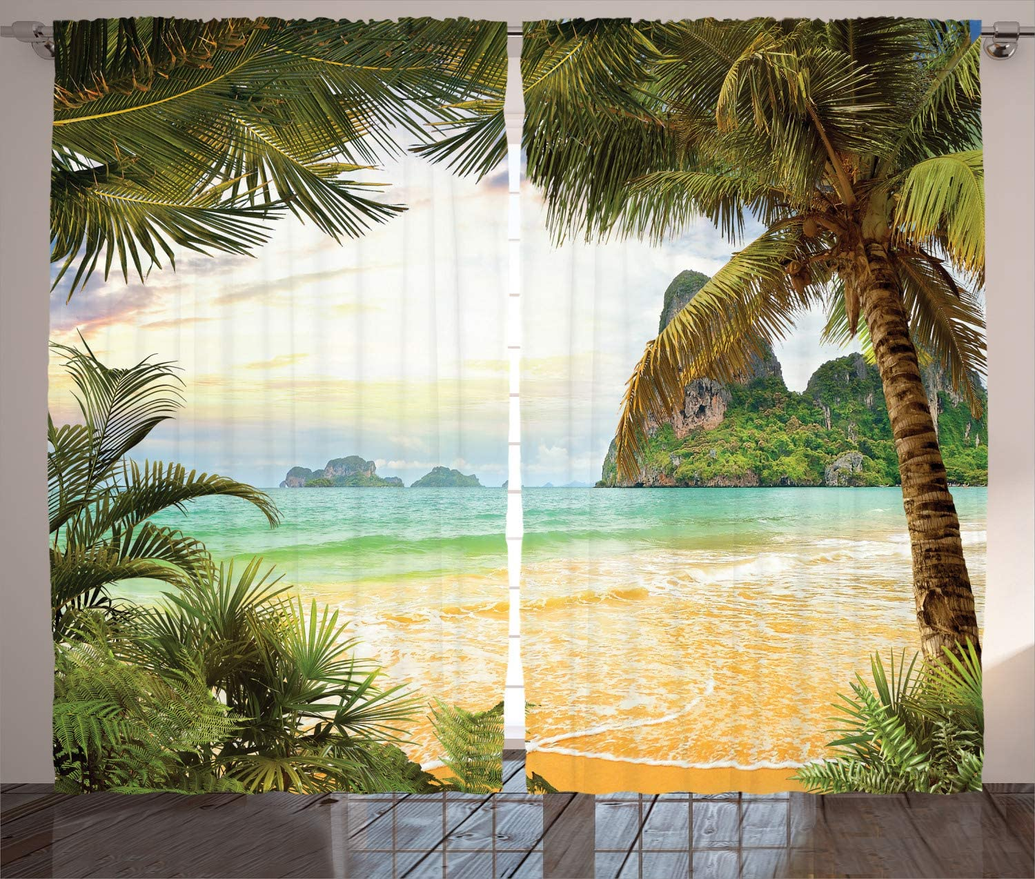 Ambesonne Ocean Curtains Palm 超美品再入荷品質至上 ☆新作入荷☆新品 Coconut and Mou Trees Waves