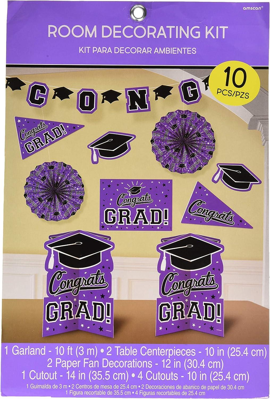 Amscan Grad Room Decoration Kit, Multi Sizes, Purple