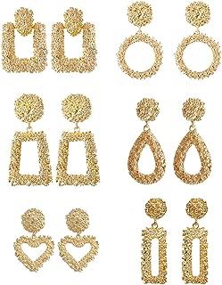 Statement Drop Earrings Large Metal Geometric Gold Dangle Drop Earrings for Women Girls 6 Pairs