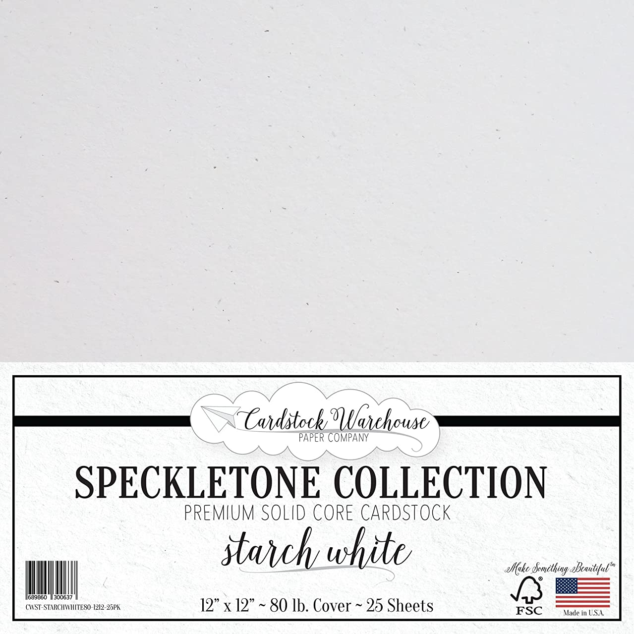 Starch White SPECKLETONE Recycled Cardstock Paper - 12 x 12 inch - Premium 80 LB. Cover - 25 Sheets