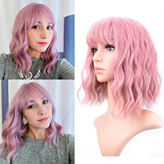 (Pink) - VCKOVCKO Pastel Wavy Wig With Air Bangs Women's Short Bob Pink Wig Curly Wavy Shoulder Length Pastel Bob Syntheti...