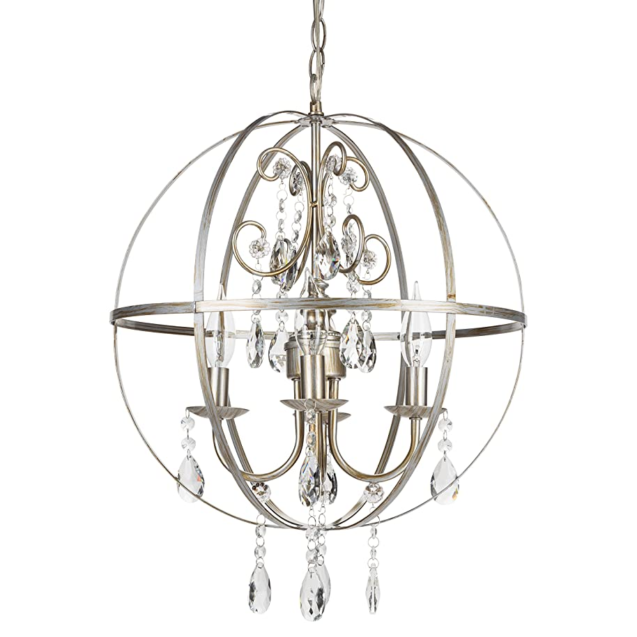 Luna Vintage Silver Orb Crystal Chandelier, Metal Round Sphere Swag Plug-In 4 Light Globe Pendant Ceiling Lighting Fixture Lamp