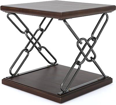 Christopher Knight Home Tiomoid Industrial Faux Wood Side Table, Dark Walnut / Black